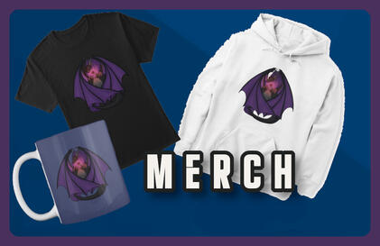 Banner display with Draconicrose Gaming merchandize.